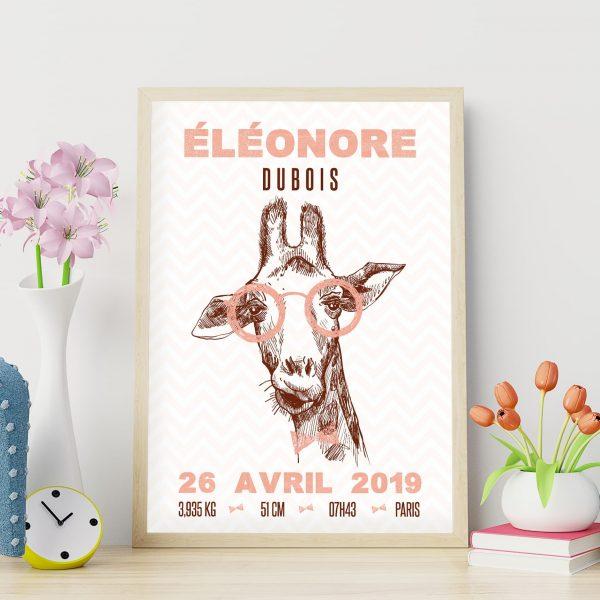 Le poster de naissance personnalise : les girafes hipsters