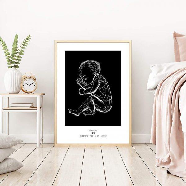 Mockup poster de naissance l'Original, couleur noir
