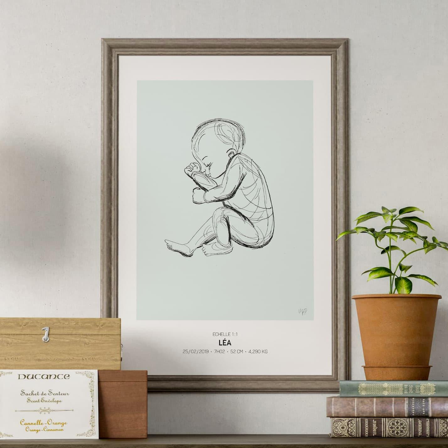 L'affiche de naissance à la taille réelle de bébé