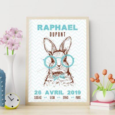 Affiche de naissance personnalisée lapins hipsters vert