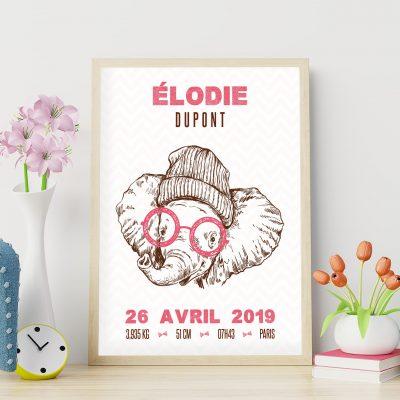 Le poster de naissance personnalisé : les éléphants hipsters, couleur rose