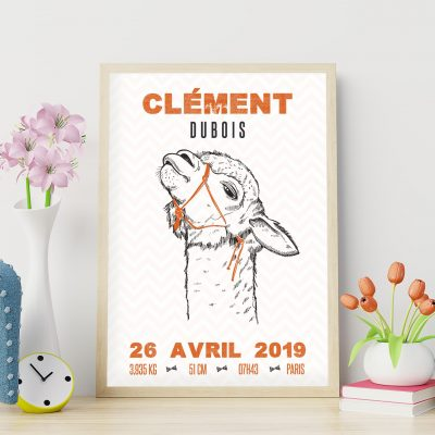 Le poster de naissance personnalisé : les lamas hipsters, couleur orange