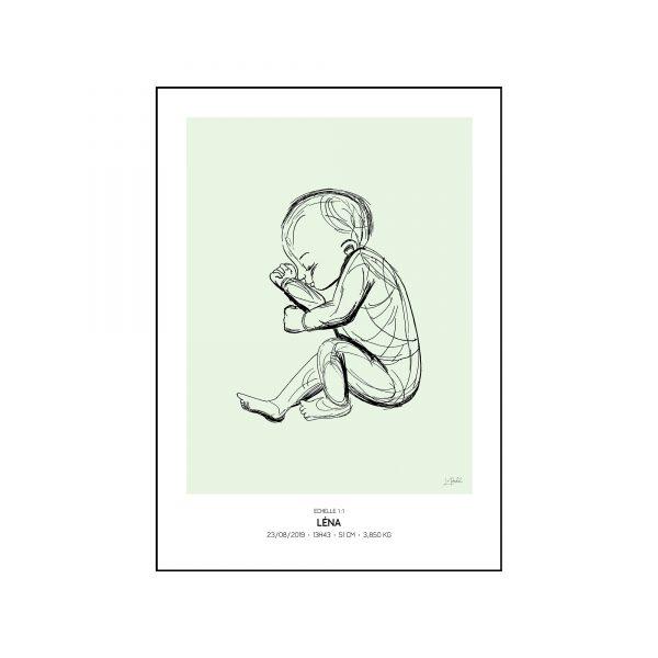 L'original - Pierres de naissance - Aout - Couleur Peridot encadré