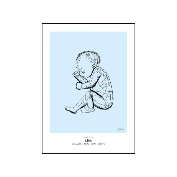 L'original - Pierres de naissance - Decembre bis - Couleur Topaze bleue encadré
