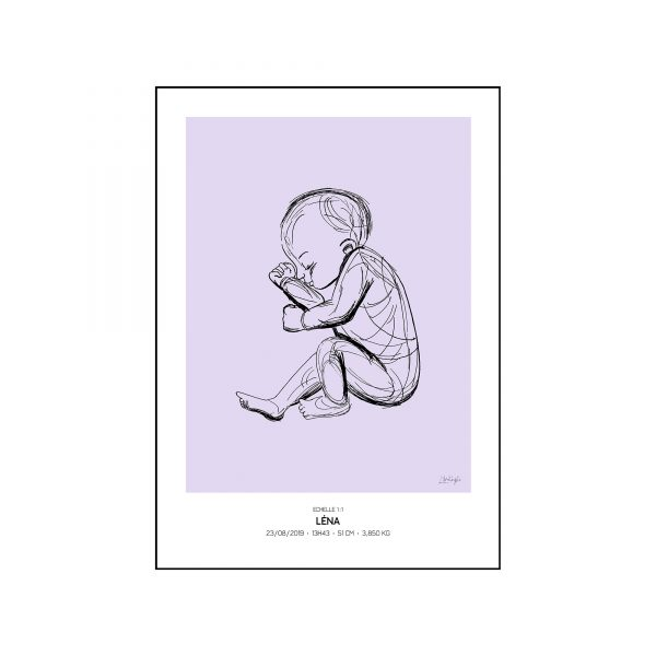 L'original - Pierres de naissance - Fevrier - Couleur Amethyste encadré