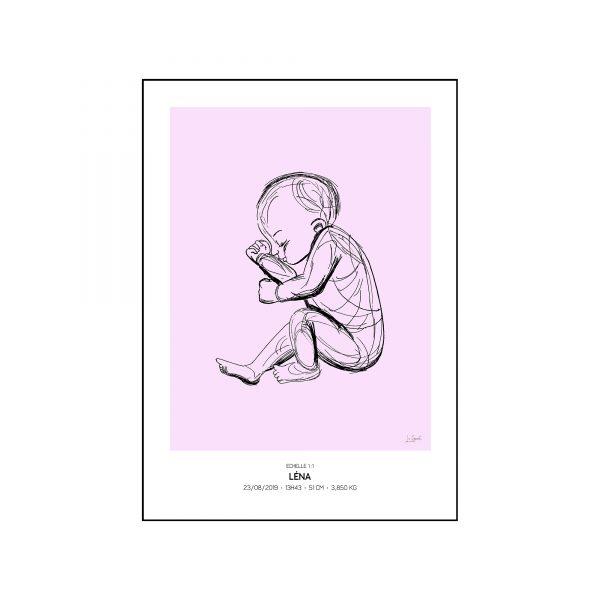 L'original - Pierres de naissance - Janvier - Couleur Grenat encadré