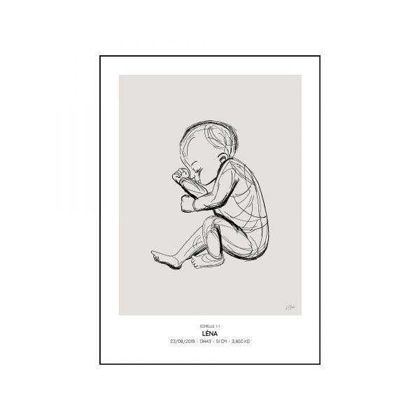 L'original - Pierres de naissance - Juin - Couleur Perle encadré