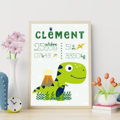 Poster de naissance le tyrannosaure mignon