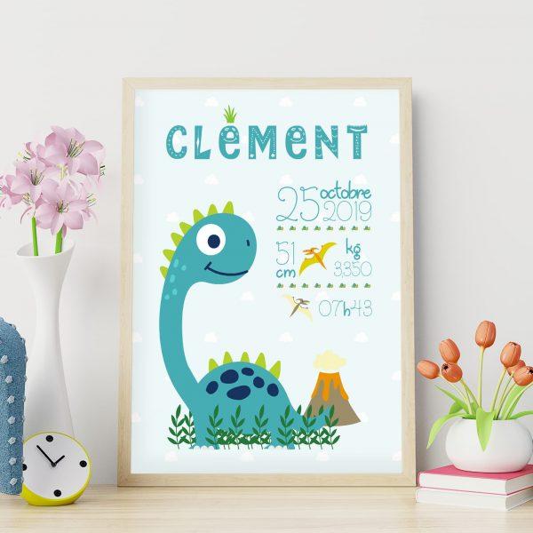 Le poster de naissance personnalisé : le diplodocus mignon