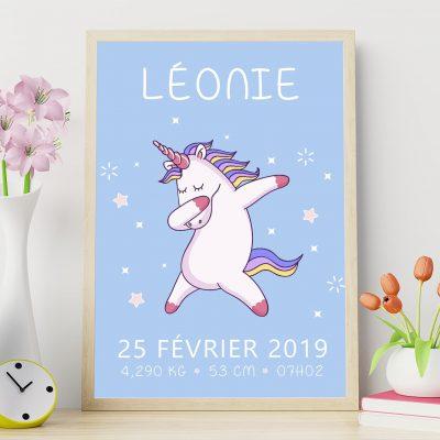 Affiche de naissance personnalisée La licorne qui dab