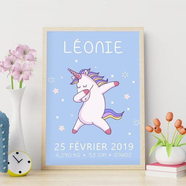 Le poster de naissance personnalisé : la licorne qui dab