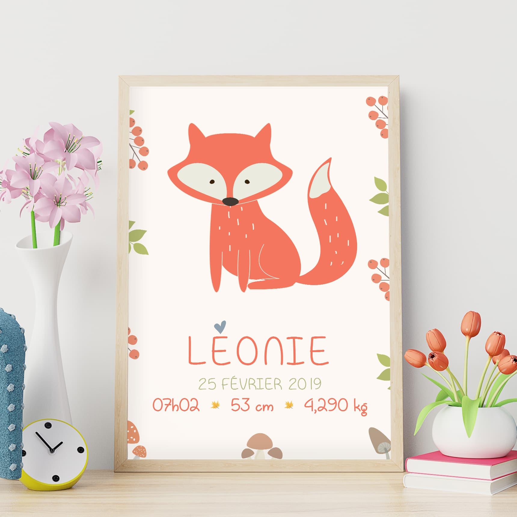 L'affiche de naissance personnalisée : le renard