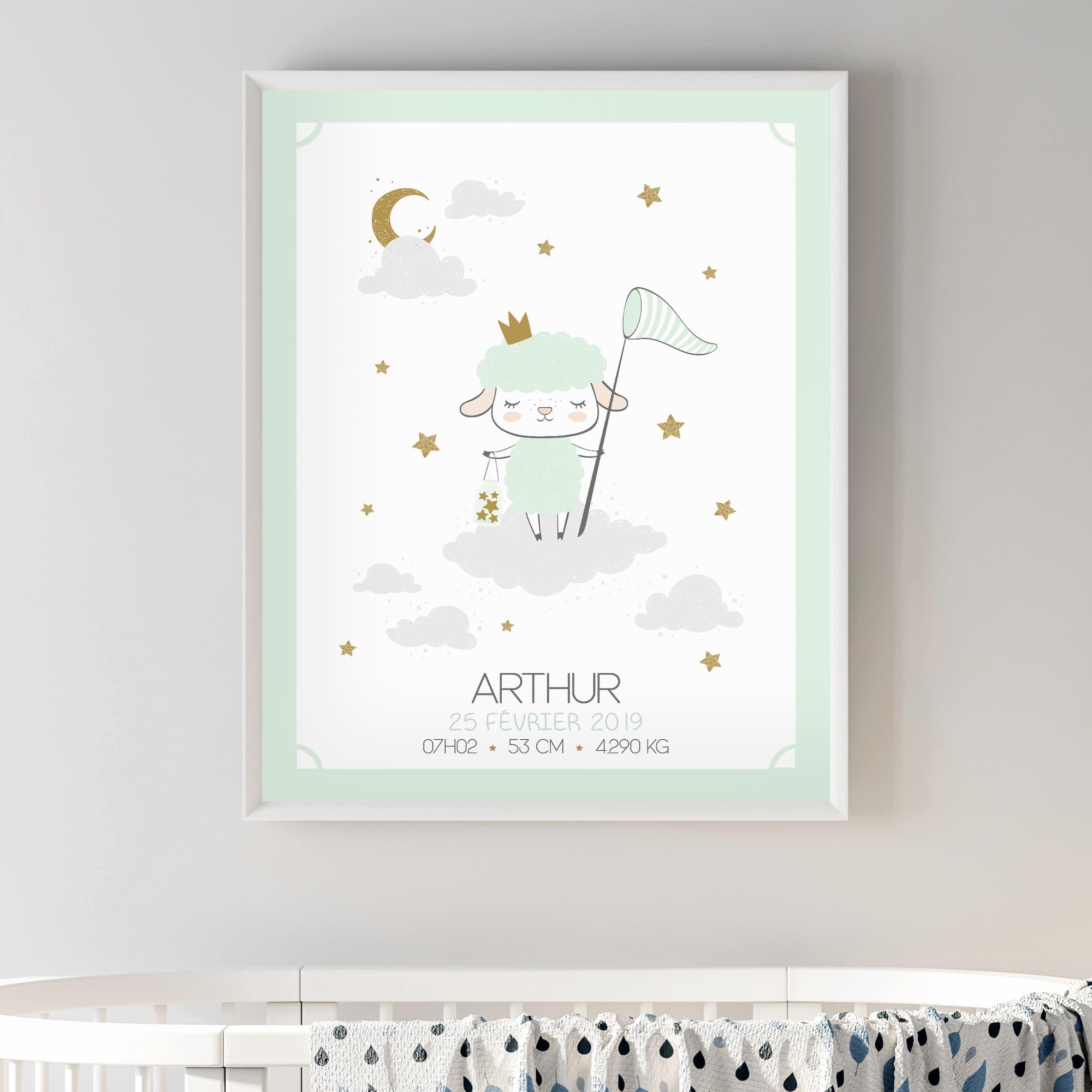 L'affiche de naissance personnalisée Le mouton sur son nuage