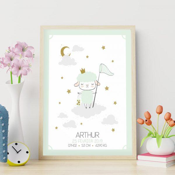 Le poster de naissance personnalisé : le mouton sur son nuage