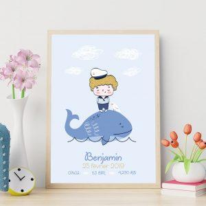 Poster de naissance le marin et sa baleine
