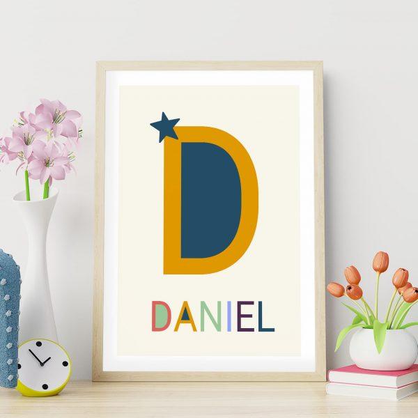 Poster de naissance personnalisé Les grandes lettres : la lettre D