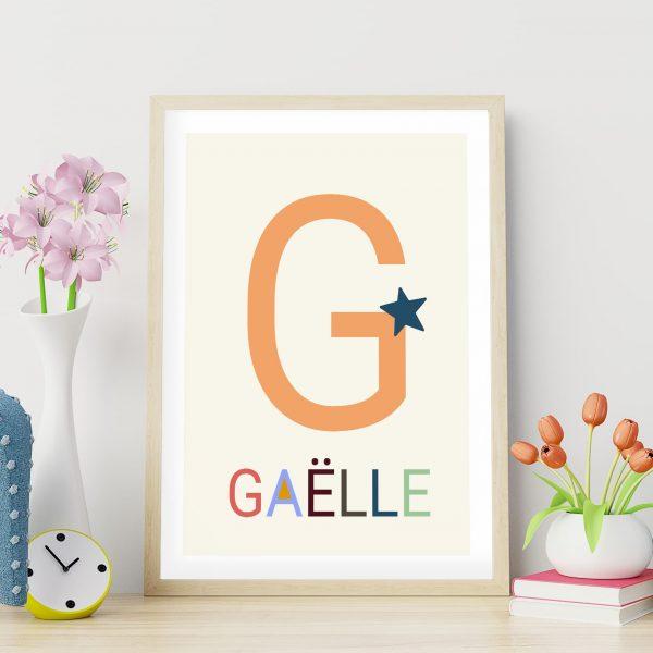 Poster de naissance personnalisé Les grandes lettres : la lettre G